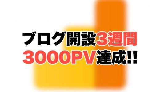 ブログ開設3週間で3000PV達成!PVが増えた要因と収益報告!
